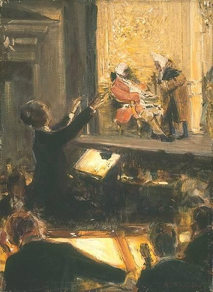 Robert Sterl: Ernst Edler von Schuch dirige El caballero de la rosa (Escena del Primer Acto, Ochs/Notario) (1912)