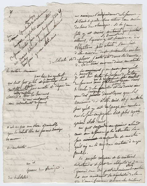 """Manuscrito de """"De la Democratie en Amérique"""", 1840"""