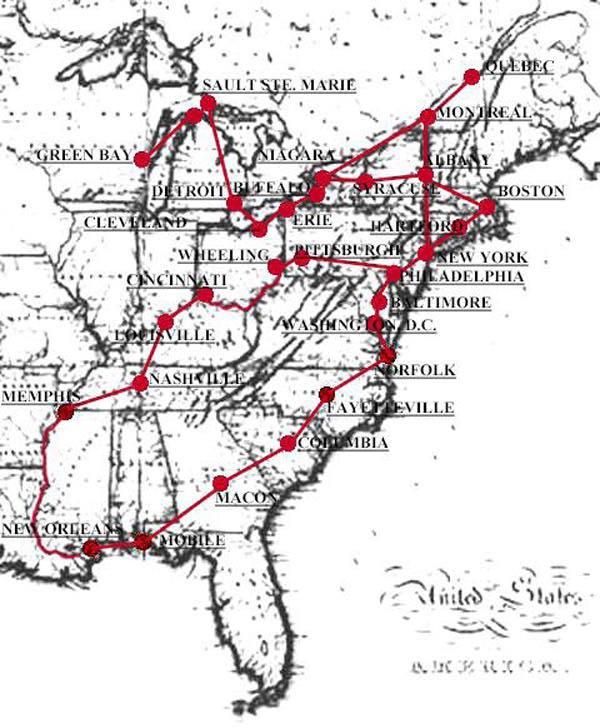 Itinerario del viaje de Tocqueville y Beaumont