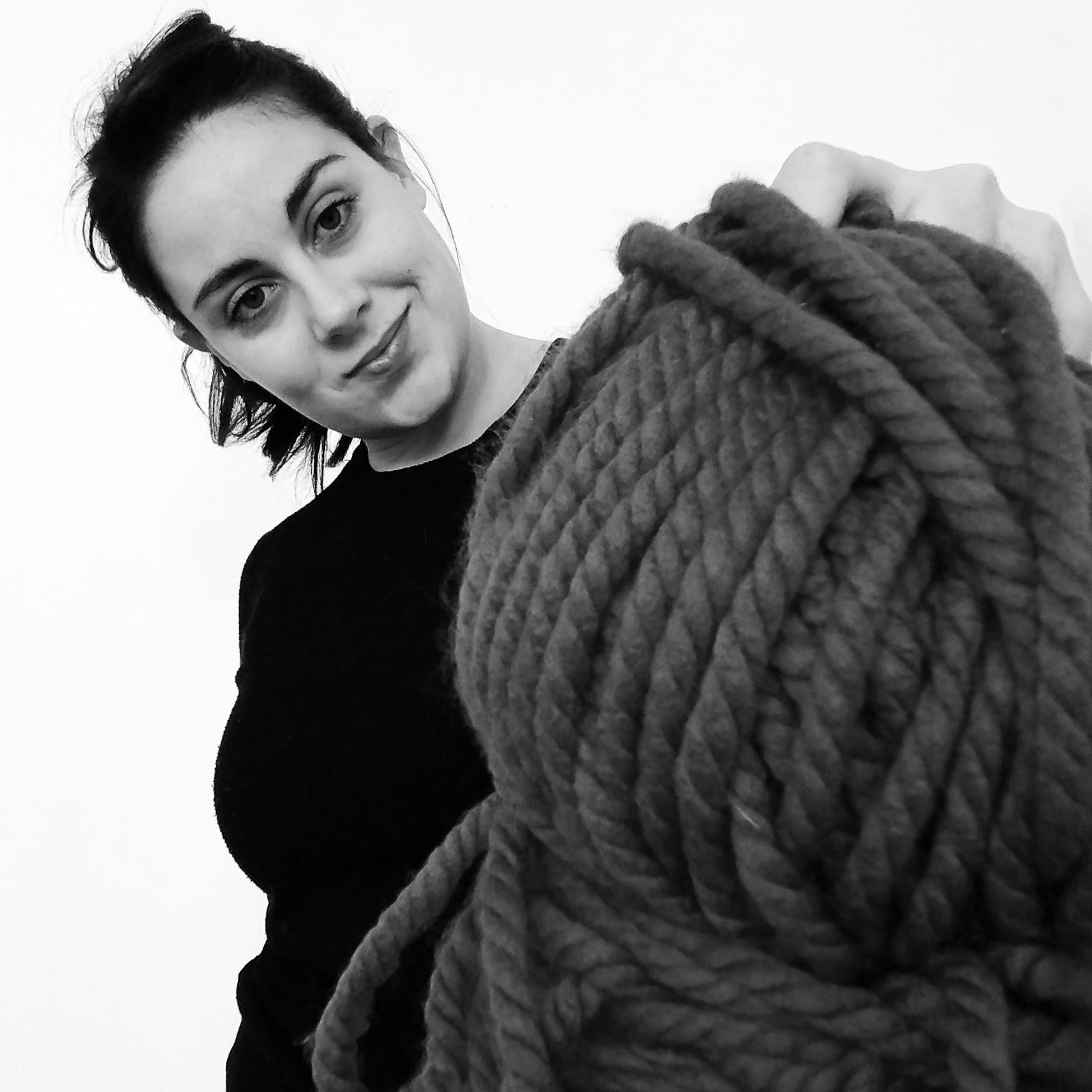 big ball of yarn portrait of a girl