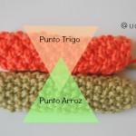Aprende a tejer punto arroz y punto trigo